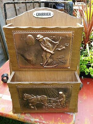 Vintage French 2 tier wooden and brass letter rack, menus, leaflets, cards, post