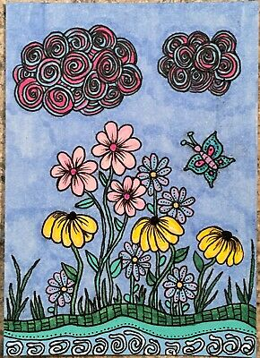 SEArts Riverside Bouquet ACEO ORIGINAL Mixed Media  Sparkle Floral Landscape ACT