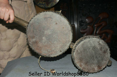 """24.4"""" Antique Chinese Wood leather Dynasty Handle drum-shaped rattle Pellet drum"""