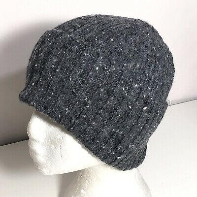 OS Drakes Men's Donegal Soft Merino Wool Flecked Cuffed Beanie Gray Multi