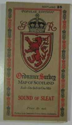 1929 Old OS Ordnance Survey Popular Edition One-Inch Map 35 Sound of Sleat