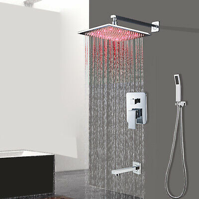 Chrome Bathroom 8 inch  LED Rain Shower Faucet With Hand Shower Tub  Mixer Tap
