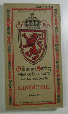1928 Old Vintage OS Ordnance Survey Popular Edition One-Inch Map 43 Kingussie
