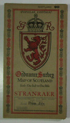 1924 Old Vintage OS Ordnance Survey Popular Edition One-Inch Map 90 Stranraer