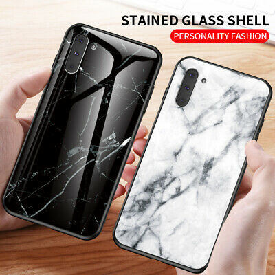 For Samsung Galaxy Note 10 Plus A70 Marble Tempered Glass Hybrid Hard Case Cover