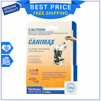 Canimax for Large Dogs 20 Kg ORANGE Pack 4 Tablets Heartworm Worm Control