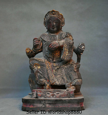 """12.4"""" Antique Old Chinese Wood lacquerware Protector Deity Veda Buddha Statue"""