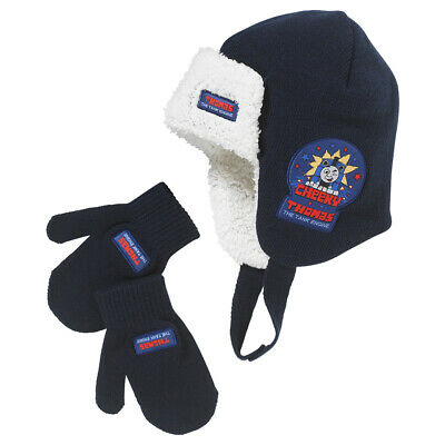 Thomas The Tank Engine Boys Fleece Lined Winter Trapper Hat and Mitts Set 2-6 yr