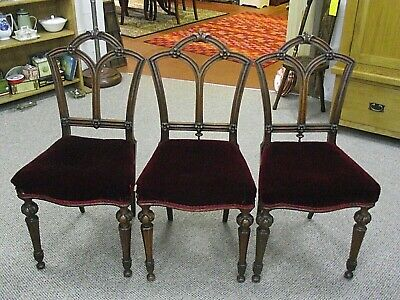 Set Of 3 Victorian Ecclesiastical / Pugin Style Dining Chairs