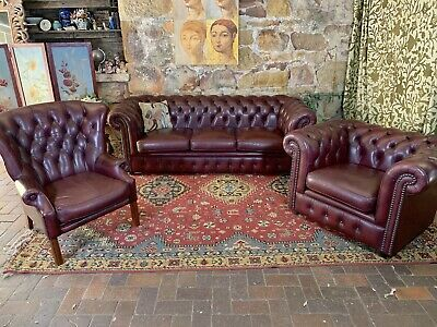 Vintage 3pce Smith &Co Chesterfield Leather Lounge Suite~Sofa,Wingback,Tub Chair