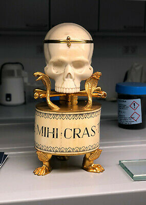 Unique Extremely rare Victorian Antique Doctor Skull Desk Fusee 19th Clock Watch