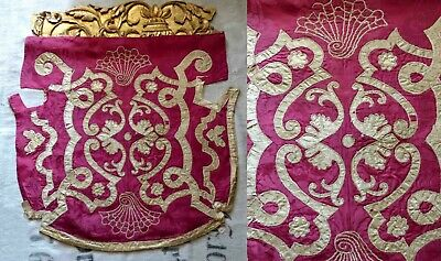17th C REMARKABLE RARE ITALIAN NOBLE FAMILY SILK BANNER W SUPERB COAT OF ARMS