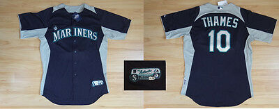 MLB Authentic Baseball Trikot Jersey SEATTLE MARINERS Thames #10 GameUsed 46/L