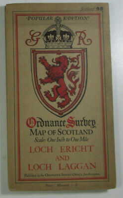 1928 OS Ordnance Survey Popular Edition One-Inch Map 48 Loch Ericht Loch Laggan