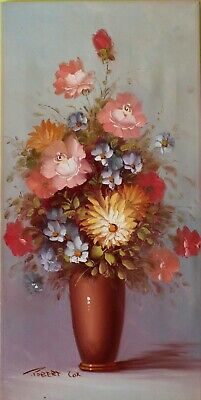 Listed Artist Robert Cox (1934-2001) Oil painting on canvas, still life, Flowers