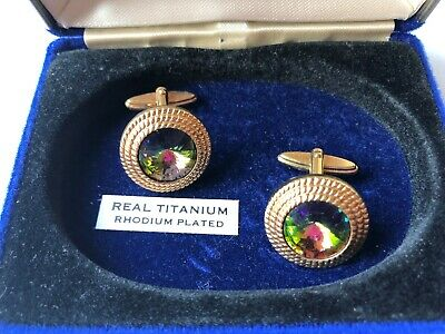 REAL TITANTIUM RHODIUM PLATED, Men's Vintage Cufflinks By BUCCANEER, BOXED