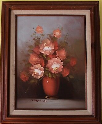Listed Artist Robert Cox (1934-2001) Oil Painting on canvas Still life, Flowers