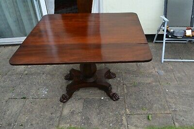 William IV Brazilian Flame Mahogany with Lions paw feet Pembroke drop leaf Table