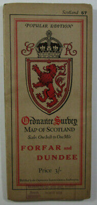 1927 Old OS Ordnance Survey Popular Edition One-Inch Map 57 Forfar & Dundee long