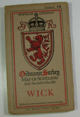 1930 Old OS Ordnance Survey One-Inch Popular Edition Scotland Map 12 Wick dissd