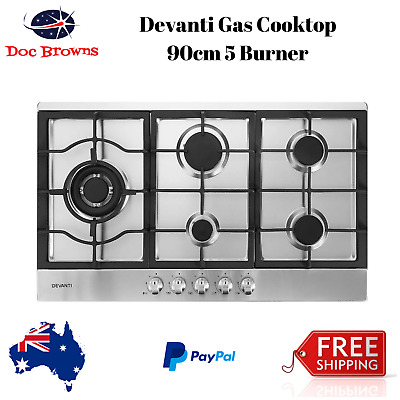 90cm Gas Cooktop Kitchen Stove Cooker 5 Burner Stainless Steel 900mm NG/LPG New