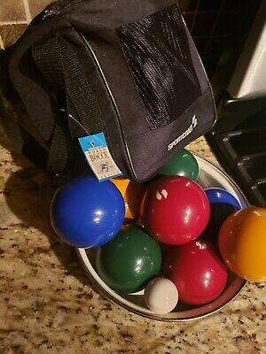Vintage Sportcraft Bocce Ball Set Made In Italy 8 2.5 LBS Balls + 1 Pallino
