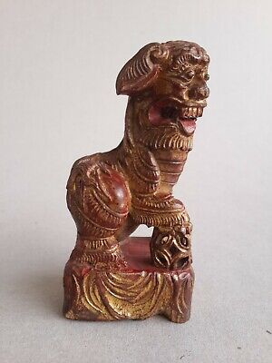 19Th C,Qing, Antique Chinese Carved Gilded And Red Lacquered Wooden Lion