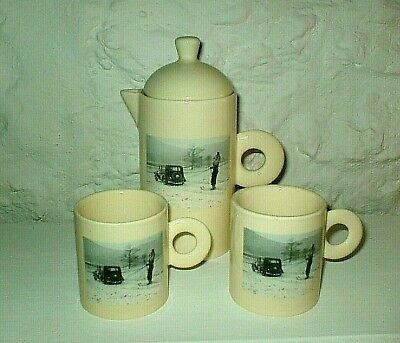 1950s  STYLE -  UNUSUAL  CERAMIC  CHOCOLATE / COFFEE  POT + 2  MUGS