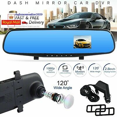 """1080P In-Car Rear View Mirror 2.8"""" Monitor HD Dash Cam Recorder Camera With Mic"""