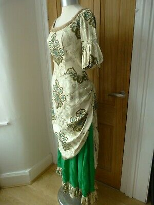 Long green and cream Victorian fancy dress, theatre,  Downton, pantomime
