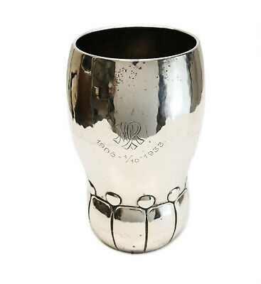 Heimburger Danish Silver Modernist Goblet Vase, Christian F. Heise Assay Mark