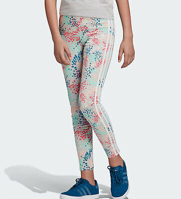 GIRLS ADIDAS ORIGINALS LEGGINGS trefoil floral ages 9 - 14 kids NEW LIMITED QTY