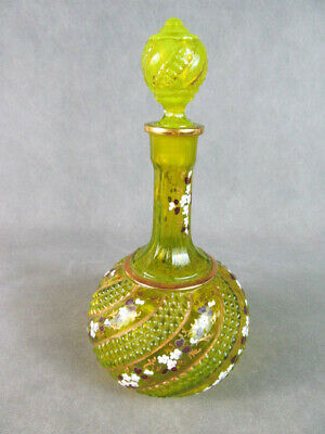 c1900 Victorian Yellow Green Glass DECANTER w/Floral Enamel