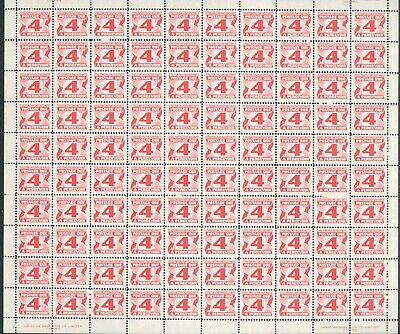 CANADA RED CENTENNIAL POSTAGE DUES J31i PANE ON PLAIN PAPER QUITE RARE VFNH