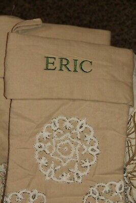 NWOT Pottery Barn CREWEL Embroidered Christmas STOCKING linen white Eric