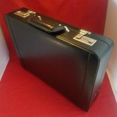 Wilson Leather Briefcase Mens Bag Messenger Attache Black Hard Case Business New