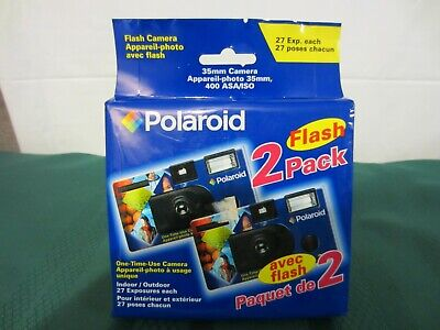 Vintage Polaroid Flash One-Time-Use 35mm Camera 2 Pack (400 ASA/ISO 27 exp.)