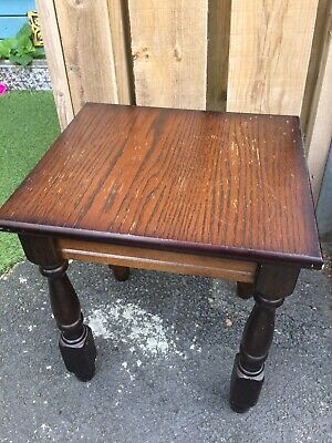 Dark Solid Wood Reproduction Mini Side Coffee Table H 40.5 W 35.5 D 31.5 cm