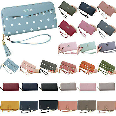 Womens Key Chain  PU Leather Wallet Case Card Phone Holder Long Purse Hand Bag