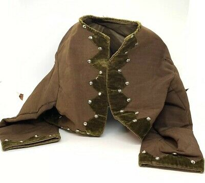 Antique Victorian Childs Small French Steel Cut Velvet Brown Linen Bodice Coat