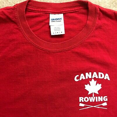 Canada Rowing Long Sleeve Red T Shirt Oars Moose Maple Leaf Gildan Mens Sz Large