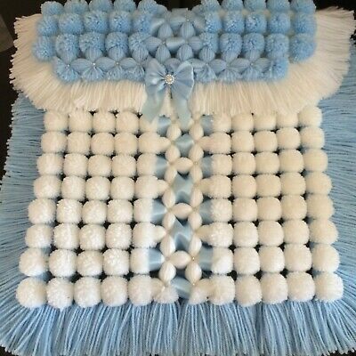 Luxurious Baby Pom Pom Blanket in Blue & White with Sparkle Detail