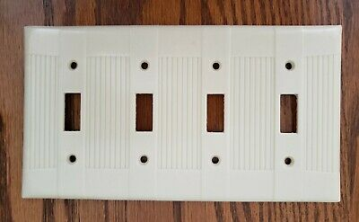 Vintage Bakelite Tuxedo 4 Toggle Switch Plate By Sierra, Good Condition