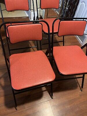 VINTAGE 1950's ? LOT OF 4 SAMSONITE PADDED METAL FOLDING CHAIRS STYLE 6828 RED