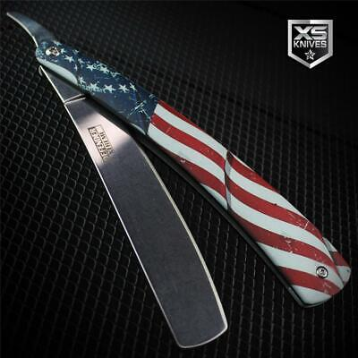 USA FLAG Metal Barber STRAIGHT RAZOR American Cut Throat Knife Shaving Rasoi