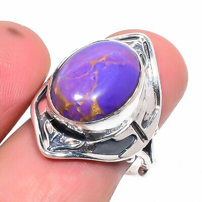 Copper Purple Turquoise Vintage Style 925 Sterling Silver Ring 8.5 (204-38)