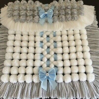 Luxurious Baby Pom Pom Blanket in Grey and White with Sparkle Detail