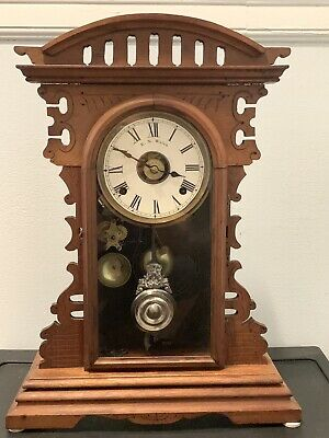 Antique E.N. Welch Kitchen Clock with Alarm, 8-day, Time & Strike Mantle 1880's'