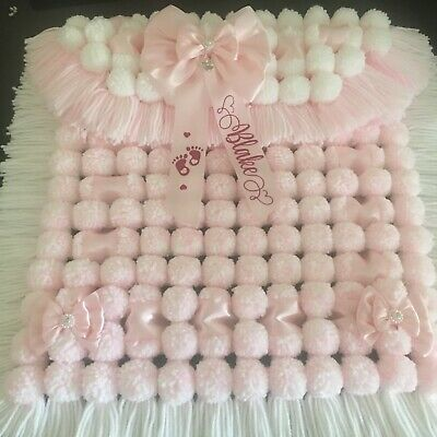 Luxurious Thick Baby Pom Pom Blanket / Pram Cover In Pink & White Personalised