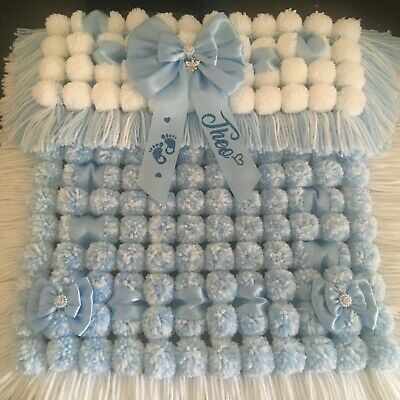 Luxurious Thick Baby Pom Pom Blanket / Pram Cover In Blue & White Personalised